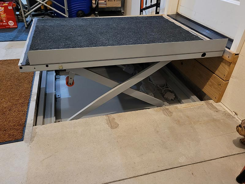 Wheelchair Platform Lift Up Side View